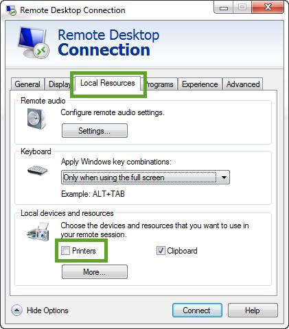 RemoteDesktopPrinters